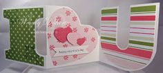 handmade Valentine card ... graphic use of letters I (heart) U ... tutorial and template available ...
