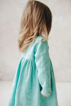 Beautiful Handmade Tiffany Blue Linen Baby Toddler Dress | TinyStoriesClothes on Etsy