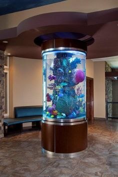 42 Astonishing Aquarium Design Ideas For Indoor Decorations - An aquarium is an enclosure with at least one clear side that houses water-dwelling fish, plants and other livestock and decorations. An aquarium offe. Aquarium Design, Aquarium Architecture, Green Architecture, Architecture Design, Fish Tank Design, Cool Fish Tanks, Amazing Aquariums, Home Look, Home Decor