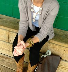 Stich fix look at this gorgeous sweater lots with a sweater. I have boots that same color!
