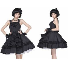 Black Lace Gothic Lolita Bunny Fashion Strap Tutu Dress for Women SKU-11402132
