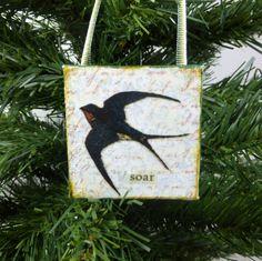 Soar! Barn Swallow Little Bird Ornament, Woodland Bird Beeswax Miniature Art by #NaturesWalkStudio on Etsy
