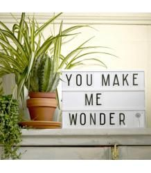 The trendy 'must have' lightbox from A Little Lovely Company with three rows for all your quotes and messages! Very decorative as a light but also so much fun to do. Change your messages as often as you like by simply sliding the plastic letters on