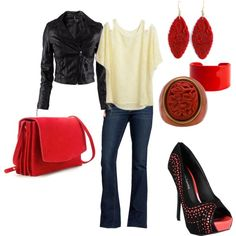 Rocker Casual with loads of red, created by jill-parry on Polyvore  NOT TYPICALLY SOMETHING I WOULD WEAR BUT THIS IS HOTT <3