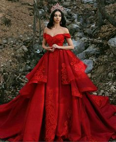 Luxurious Off-The-Shoulder Red Wedding Dresses Lace Overskirt red wedding gowns - Wedding Gown Shrug For Dresses, Prom Dresses Uk, Quinceanera Dresses, Ball Dresses, The Dress, Quince Dresses, Occasion Dresses, Party Dresses, Dress Hire