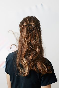Spring's Prettiest Hairstyles — With A Twist #refinery29  http://www.refinery29.com/men-updo-hairstyles#slide-5  Go HalfsiesAh, the half-bun. It's been the ultimate second-day hairstyle of lazy folks everywhere for who knows how long. How could you possibly improve upon such a gift?Well, you can. Instead of a typical bun, Maclay opted for a knot at ear level. But first, he blew the strands dry and curled them from mid-shaft to ends with a one-inch iron. (You could obviously skip ...