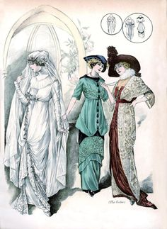 Victorian Edwardian Wedding Dress Fashion Print set