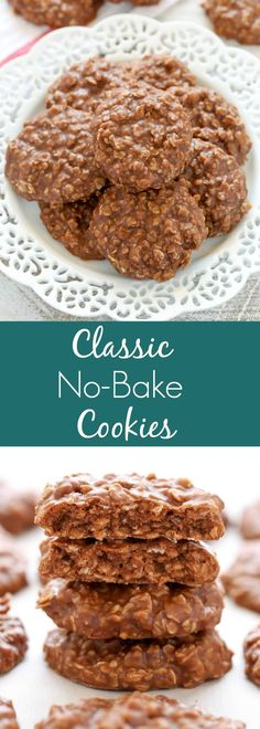 These Classic No-Bake Cookies only require a few simple ingredients and are incredibly easy to make. Loaded with peanut butter, oats, and cocoa powder, these cookies are perfect for an easy dessert! desserts simple Classic No-Bake Cookies Easy No Bake Cookies, No Bake Treats, Yummy Treats, Delicious Desserts, Sweet Treats, Yummy Food, No Back Cookies, Baking Cookies, Cookies With Oats