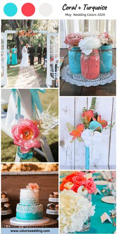 Coral and Turquoise May Wedding Turquoise Bridesmaid Dresses Turquoise Coral Weddings, Turquoise Bridesmaid Dresses, Bridesmaid Bouquet, Turquoise Table, Coral Turquoise, Turquoise Wedding Cakes, Bright Wedding Colors, Spring Wedding Colors, Wedding Color Combinations