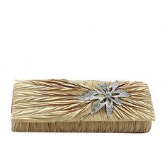 Dazzling Elegant Flower Rhinestone Handbag, Wedding Party Clutch Purse Chain Bag-Apricot