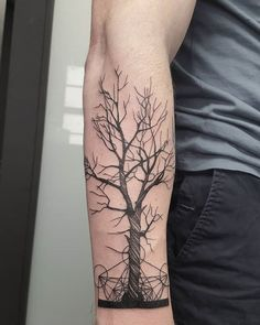 Search inspiration for a Geometric tattoo. Wrist Tree Tattoo, Pine Tattoo, Tree Roots Tattoo, Tree Sleeve Tattoo, Tree Tattoo Men, Tree Tattoo Designs, Calf Tattoo, Forearm Tattoo Men, Arm Band Tattoo