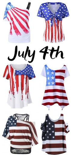 822356db464 American Flag Print Asymmetrical Tee Spring Outfits Women Casual