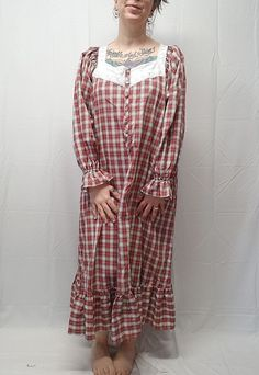 29071b8f31 Vtg VICTORIA SECRET Romantic Peasant Nightgown Red Plaid White Eyelet Trim  S M  VictoriasSecret