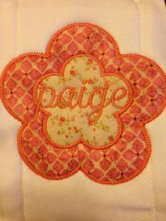 Personalized flower burp cloth. Every little girl needs one of these!! Find us on Facebook sewcutechics