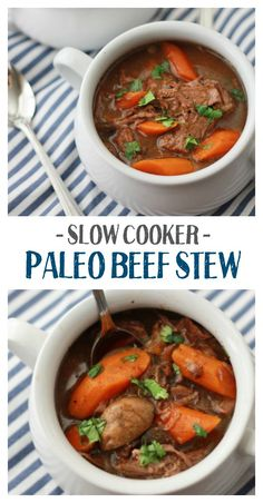 This healthy slow cooker beef stew is absolutely delicious. Made from good-for-you ingredients. Gluten free, paleo, and Whole30 friendly!