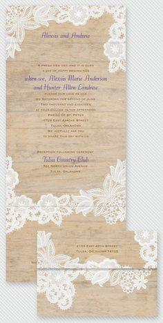 Trending: Lace and wood-grain wedding invitations. This Seal & Send style comes with a respond card attached and doesn't even need an envelope!