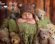 teddy bears newborn baby pose basket
