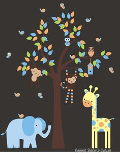 Elephant, giraffe, monkey, owl nursery decal