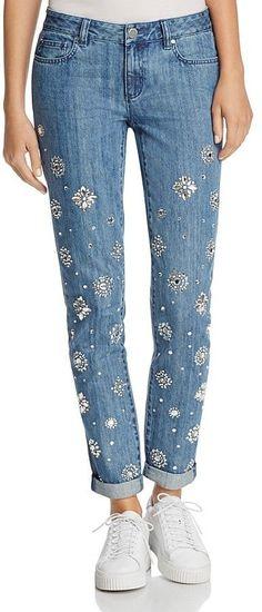 MICHAEL Michael Kors Rhinestone Embellished Jeans in Light Indigo