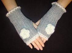 Grey and White Fingerless Gloves with Flower by LenitaGM on Etsy, $24.90