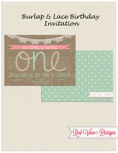 Burlap One Invitation by DesignsRedVine on Etsy, $15.00