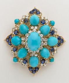 Persian Turquoise, Sapphire and Diamond Brooch, 18 KYG: