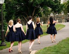 Navy Bridesmaids dresses, Tan shoes
