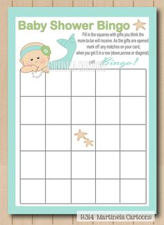 Printable mermaid baby shower bingo cards, under the sea babyshower game featuring a cute mermaid. INSTANT DOWNLOAD. Print your own games!