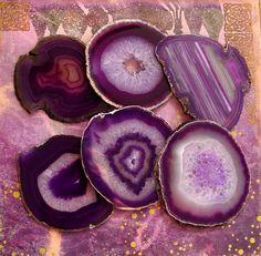 Large Purple Agate Slice Gemstone Coasters by LandiDesigns on Etsy