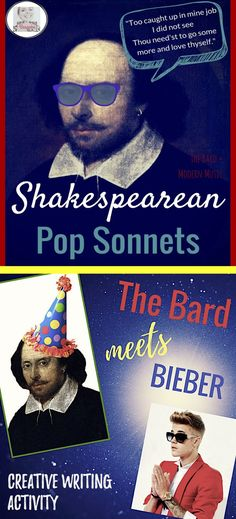 In this sonnet activity by Bespoke ELA, students will create pop sonnets in the style of Shakespeare. Excellent for any unit on Shakespeare. Teaching Poetry, Teaching Language Arts, Teaching Writing, Writing Activities, Teaching Resources, Teaching Strategies, Teaching Ideas, Drama Education, Education English