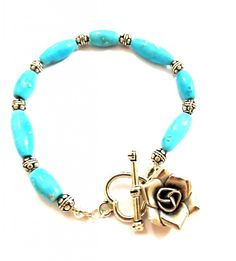 Buy Me on URCRafti.com! Turquoise Bracelet with Silver Rose- Turquoise Bracelet by Linda Dunn At least Pin Me so everyone can see!