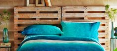Cama Amarela: Cabeceira de cama de paletes