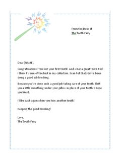 First Lost Tooth Letter from the Tooth Fairy | Free Tooth Fairy Letters.com