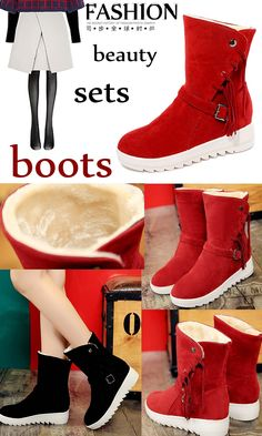 Buy Female Higher Inside Snow Boots Red Black Suede Tassel Slip Thick Bottom Warm All-match Women Shoes at Wish - Shopping Made Fun Discount Deals, Latest Fashion Design, Wish Shopping, Timberland Boots, Snow Boots, Black Suede, Fashion Beauty, Warm, Female