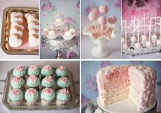 pink teal ballerina ballet birthday party rosette ombre layer cake with cake pops