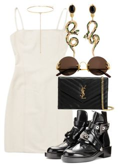 """""""Untitled #2506"""" by mariandradde ❤ liked on Polyvore featuring Hervé Léger, Diego Percossi Papi, Balenciaga, Yves Saint Laurent, Cartier and Shay"""