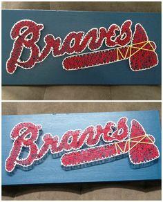 DIY string art. wall decor. baseball art. nail and string art. Atlanta braves decor. Popular with the Poplins