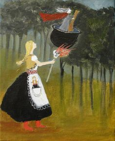 Baba Yaga and Vasalisa  the Beautiful--great Russian fairy tale.  Painting by Jeanie Tomanek.