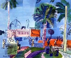 Raoul Dufy, the great French painter.  Many beautiful impressionist works like this of the Cote d'Azure....