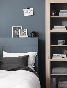 To this post for Life at home, I painted Brimnes main gable in the same shade as the wall. A nice solution to get a feel in the bedroom. Ikea Bedroom, Blue Bedroom, Home Decor Bedroom, Bedroom Furniture, Bed Ikea, Modern Bedroom, Bedroom Wall, Bedroom Ideas, Style At Home