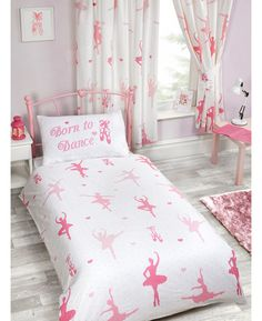 This Born to Dance Double Duvet Cover and Pillowcase Set features pretty pink ballerinas silhouetted on a white background. Free UK delivery available