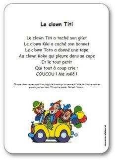 Comptine Le clown Titi Le Clown, Petite Section, Kids Class, Art Education, Mardi Gras, Elementary Schools, Logos, Nature, Songs For Children