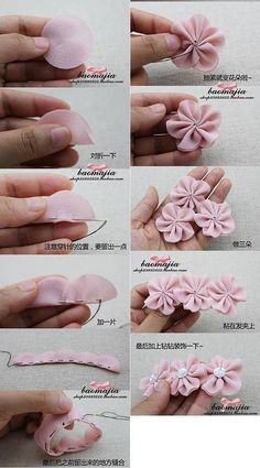 Best 12 Cloth flower making is fun and easy. These cloth flowers look so pretty and are great for adding to brooches, hair clips and necklaces.Ribbon Sakura or plum blossomsThis Pin was discovered by Flo - Sa Diy Hair Bows, Diy Bow, Diy Ribbon, Ribbon Crafts, Flower Crafts, Fabric Crafts, Ribbon Work, Ribbon Hair, Diy Crafts