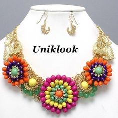 27.65$ Art Deco Flair Sexy Bold Color Gold Flower Explosion Pearl Necklace Set