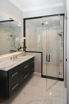 Glass Shower Door with Black Hardware Glass Shower Enclosures, Glass Shower Doors, White Master Bathroom, Modern Bathroom, Bathroom Renovations, Home Renovation, Grey Doors, Dark Cabinets, Wall Tile