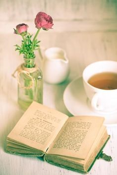 A book, a cup of tea and a rose