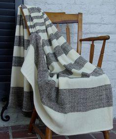 Hand Woven Merino Wool Blanket from Nordt Family Farm. One of the softest blankets I've ever felt! Types Of Weaving, Black And White Design, Soft Blankets, Merino Wool Blanket, Blue Stripes, Color Patterns, Hand Weaving, Diy, Charles City