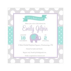 Personalized Square Mint Green Orchid and Gray Elephant Baby Shower Invitations for Baby Girls by HeadsUpGirls