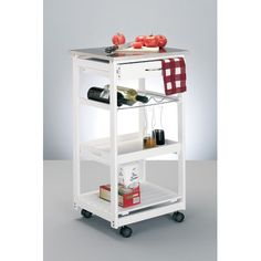 £75 Zeller Kitchen Cart with Stainless Steel Top