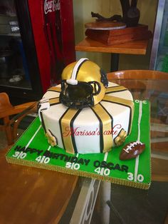 New Orleans Saints birthday cake  Visit us Facebook.com/marissa'scake or www. Marissa'scake.com
